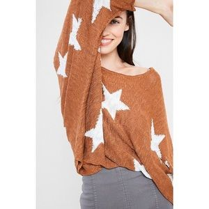 Wishlist Star Burnout Oversized Dolman Sweater
